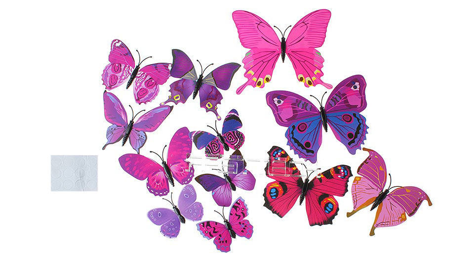 3D Butterfly Styled Wall Sticker Home Decoration (12 Pieces)