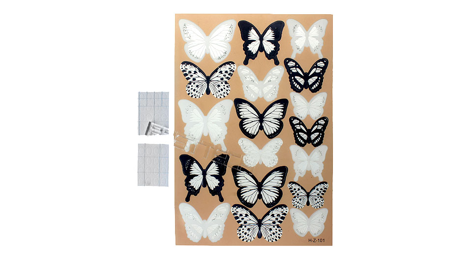 3D Butterfly Styled Wall Sticker Home Decoration (18 Pieces)