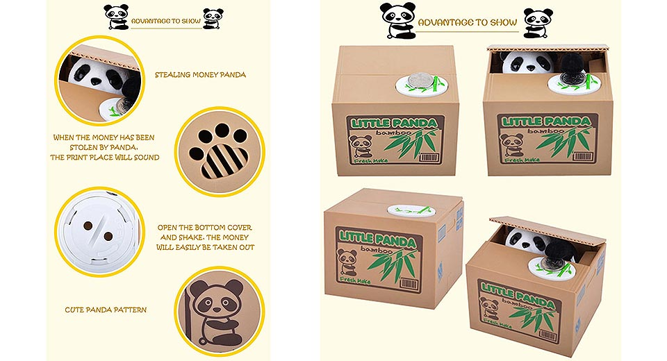 Panda Coin Saving Bank Money Box