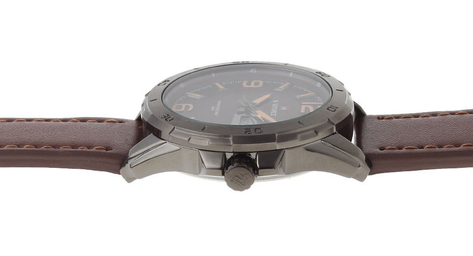 NAVIFORCE 9055 Men's Leather Band Quartz Wrist Watch