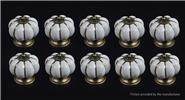 Pumpkin Styled Cupboard / Drawer Ceramic Handle Knob (10-Pack)