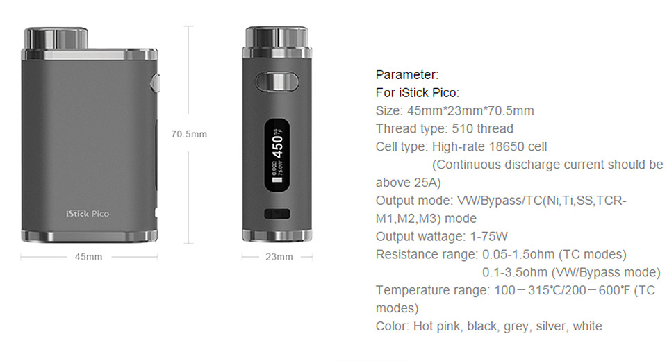 Authentic Eleaf iStick Pico 75W TC VW APV Box Mod