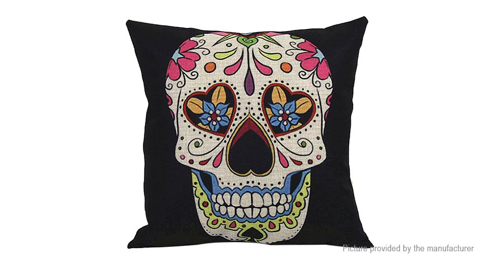 Skull Pattern Linen Square Decorative Throw Pillowcase