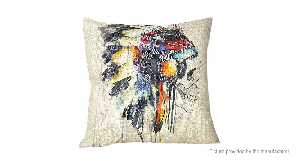 Product Image: skull-pattern-linen-square-decorative-throw