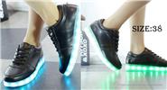 Unisex LED Light Lace Up Low Top Shoes Couple Sneakers (Size 38/Pair)