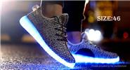 LED Light Lace Up Sports Shoes Sneakers (Size 46/Grey)