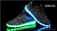 Unisex LED Light Lace Up Sports Shoes Sneakers (Size 38/Pair)