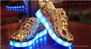Kids LED Light Up Slip-On Luminous Shoes Sneakers (Size 27/Gold)