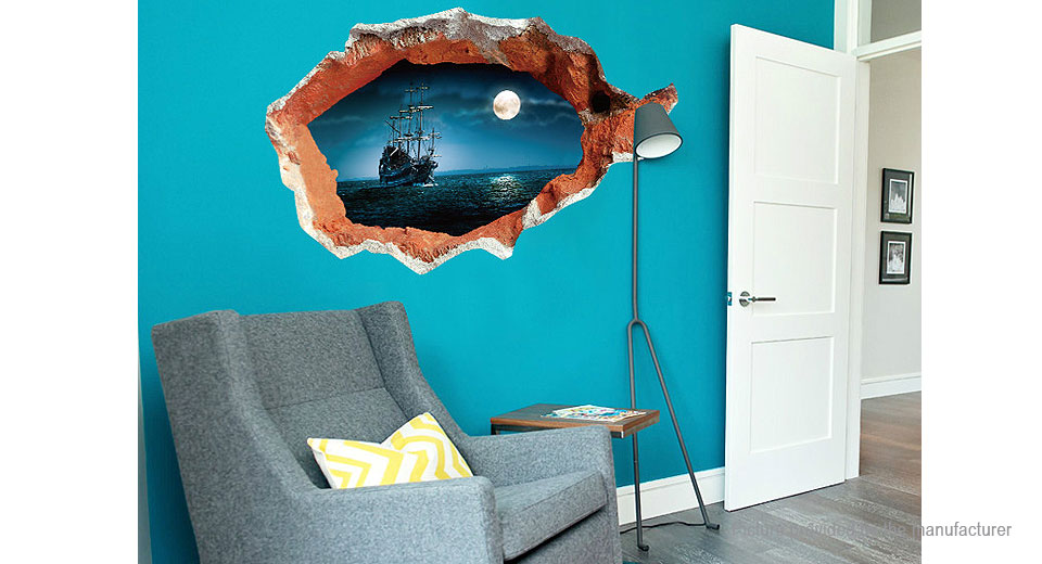 3D Broken Wall Styled Wall Sticker Decoration Decal
