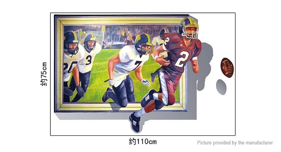 3D Running Football Players Styled Wall Sticker Decoration Decal