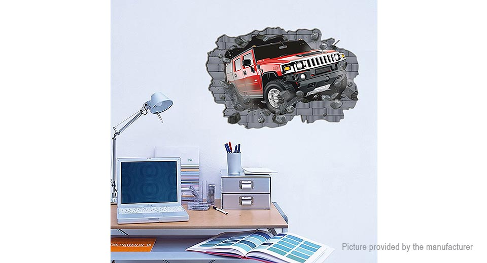 3D Car Crashing in the Wall Styled Wall Sticker Decoration Decal