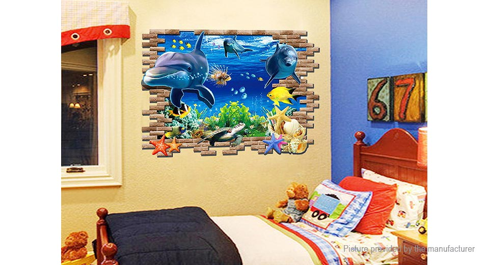 3D Submarine World Styled Wall Sticker Decoration Decal