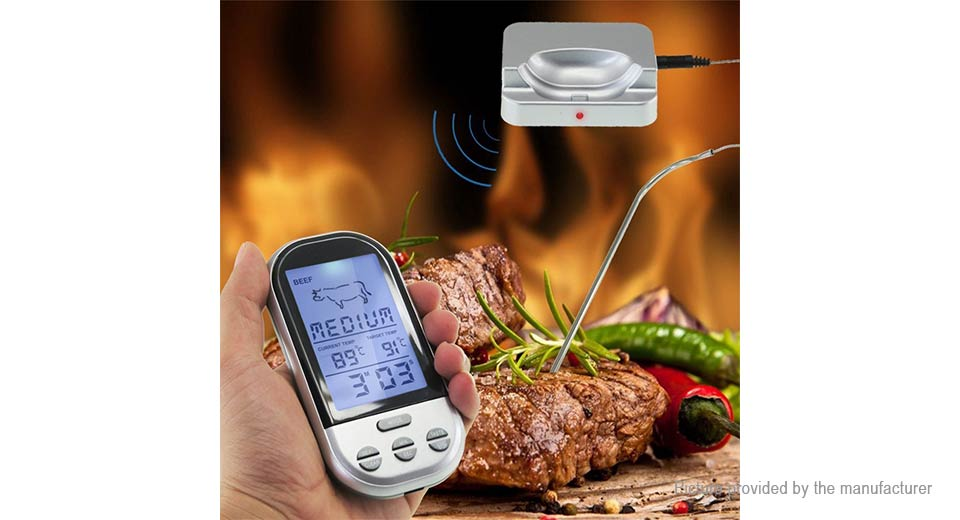 Remote Control Food Meat Outdoor BBQ Home Kitchen Thermometer