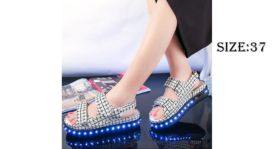 39.77 LED Light Up Women s Platform Shoes Sandals (Size 37 White ... 9eee723a2