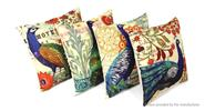 Peacock Pattern Linen Square Decorative Throw Pillowcase