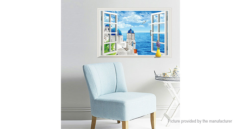 3D Artificial Window View Aegean Sea Removable Wall Sticker Home Decor