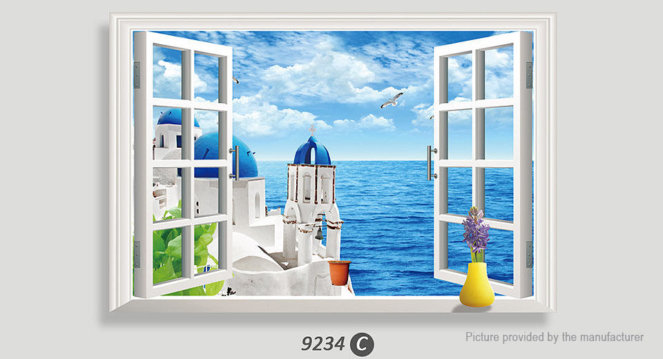 Artificial Window View Aegean Sea Removable Wall Sticker Home Decor