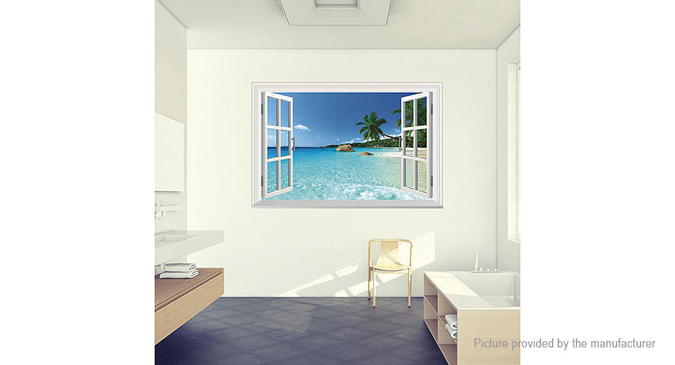 3D Artificial Window Hawaii Holiday Seaview Removable Wall Sticker Home Decor