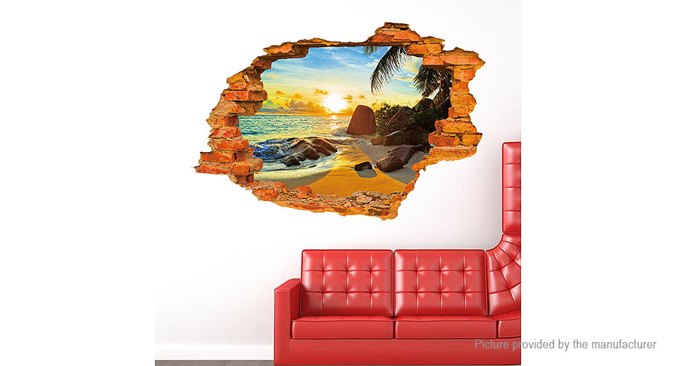3D Virtual Window View Beach Removable Wall Sticker Home Decor