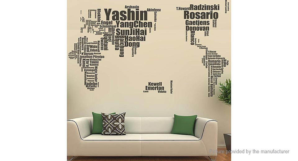 Football Celebrities World Map Removable Wall Sticker Home Decor