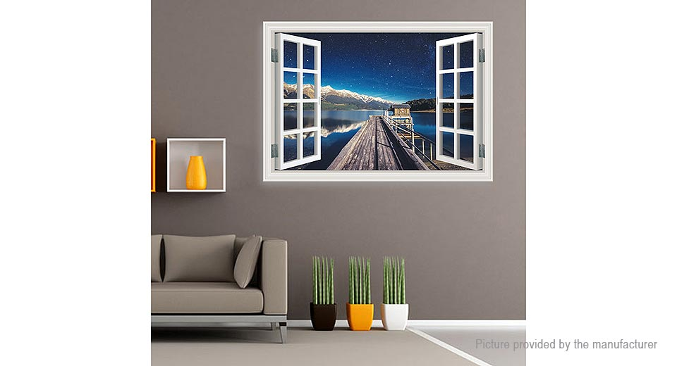 3D Artificial Window Harbor Wharf Starry Sky Removable Wall Sticker Home Decor