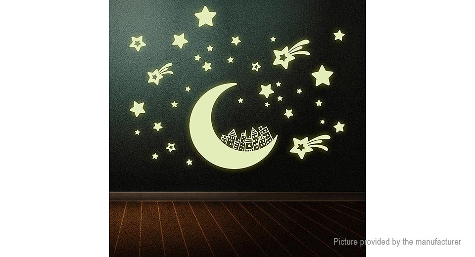 Luminous Moon Stars Building Styled Removable Wall Sticker Home Decor