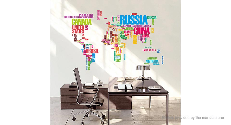 World Map Letter Styled Removable Wall Sticker Home Decor