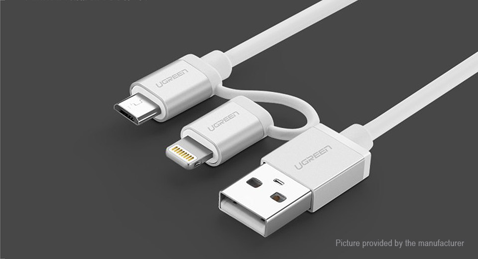 UGREEN 2-in-1 USB to Micro-USB/8-pin Charging / Data Sync Cable (150cm)