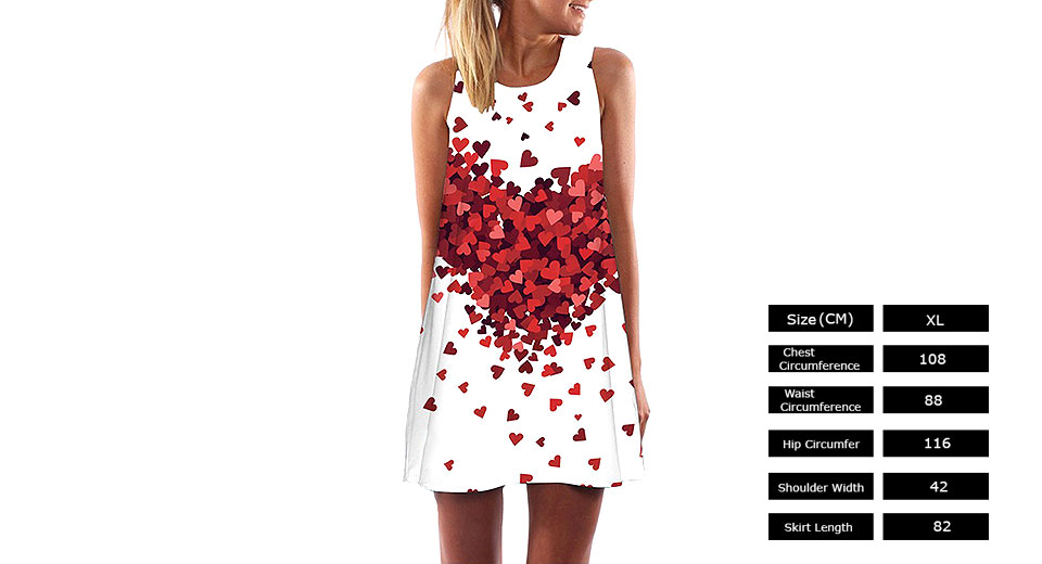 Product Image: women-heart-print-sleeveless-a-line-dress-top