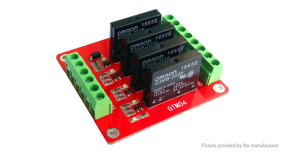 880 GTM04 4Channel SSR Solid State Relay Module w Fuse 5V12V
