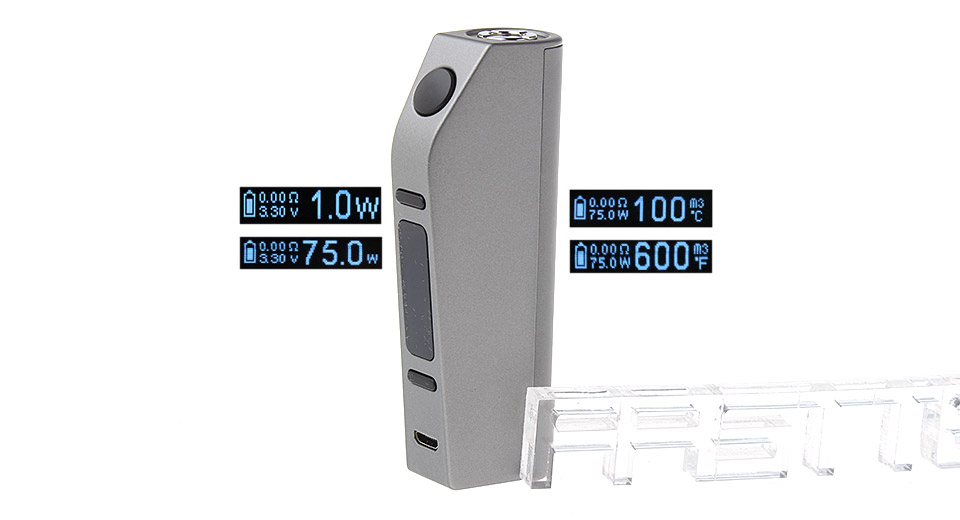 Authentic Eleaf ASTER 75W TC VW APV Box Mod (Grey)