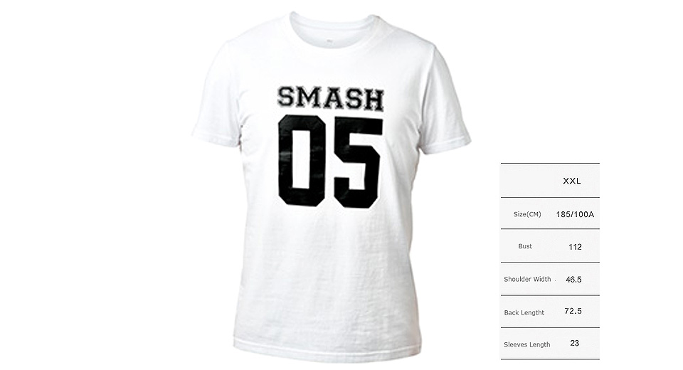 Authentic Xiaomi Mi SMASH 05 Printed Unisex Short Sleeve T-shirt (Size 2XL) T-shirts 5509803