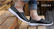 Men's Hand-made Knitted Shoes Outdoor Walking Flats Shoes (Size 44/Black)