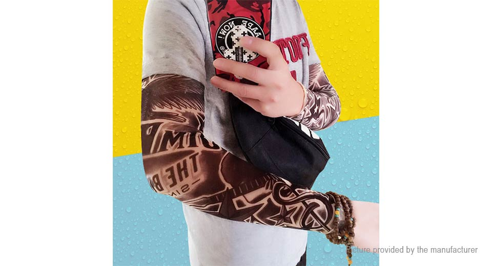 Unisex UV Protection Temporary Fake Tattoo Arm Sleeves (Free Size/Pair)