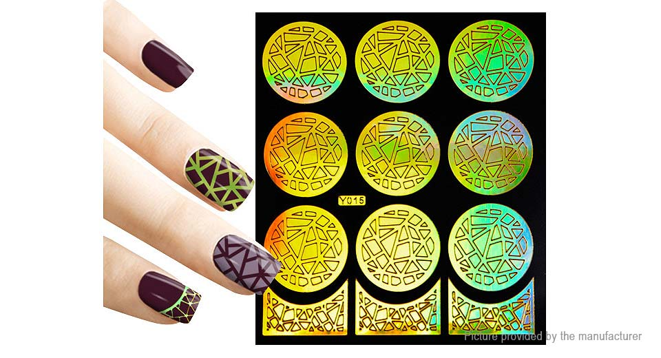 $1.40 Reusable DIY Nail Art Template Stickers Stamp Stencil Guide ...