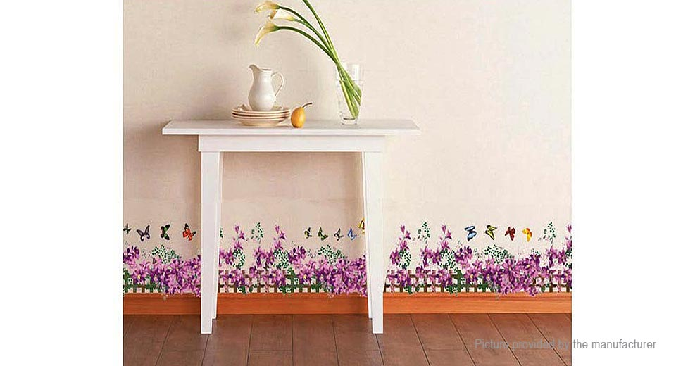 Purple Flowers Styled Removable Wall Sticker Home Decor