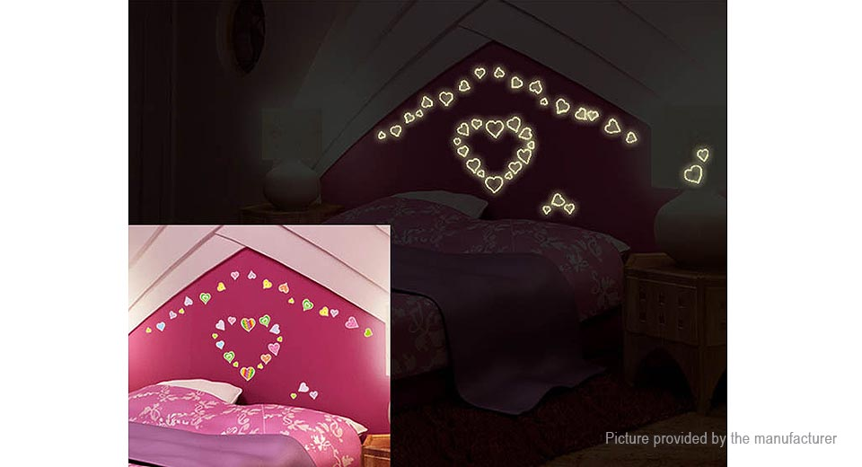 Luminous Hearts Styled Removable Wall Sticker Home Decor