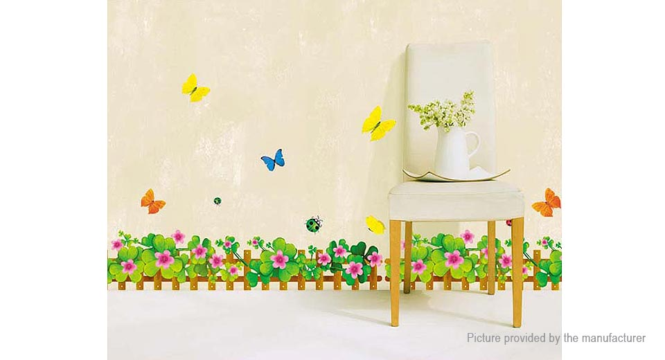 Flowers & Butterflies Styled Removable Wall Sticker Home Decor