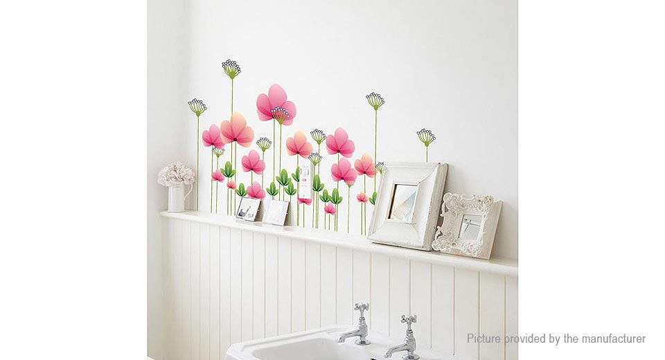 Twin Lotus Flowers on One Stalk Styled Removable Wall Sticker Home Decor