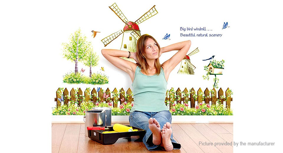 Fence & Windmill Styled Removable Wall Sticker Home Decor