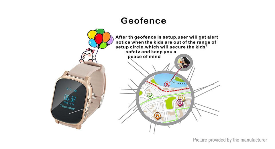 T58 GSM GPRS GPS Tracker Wrist Watch for Kids / Seniors