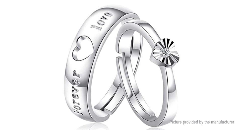 2 12 Forever Love Hollow Out Heart Design Couple Rings 2
