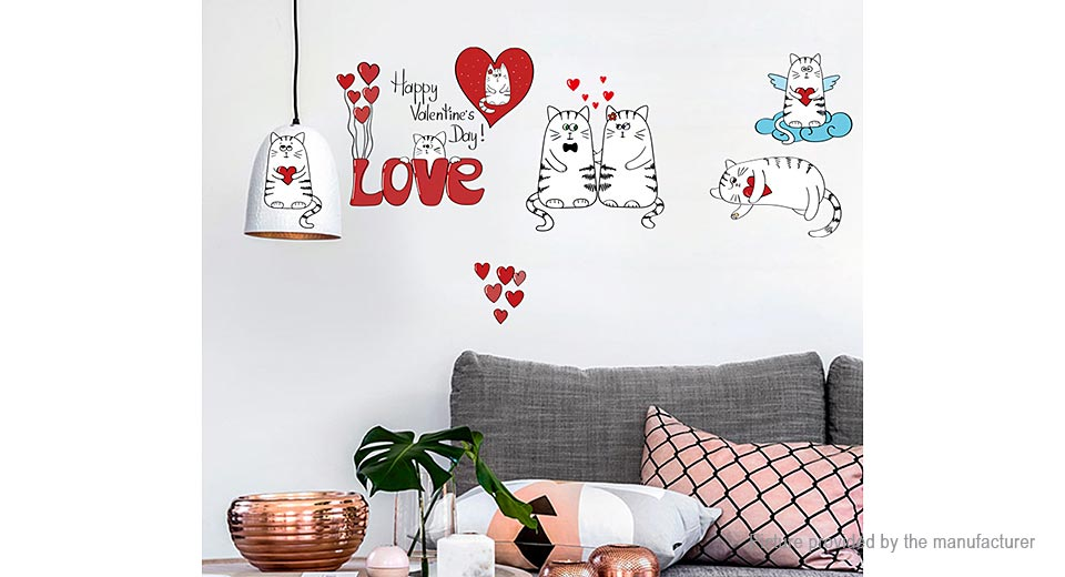 Love Cat Styled Removable Wall Sticker Home Decor