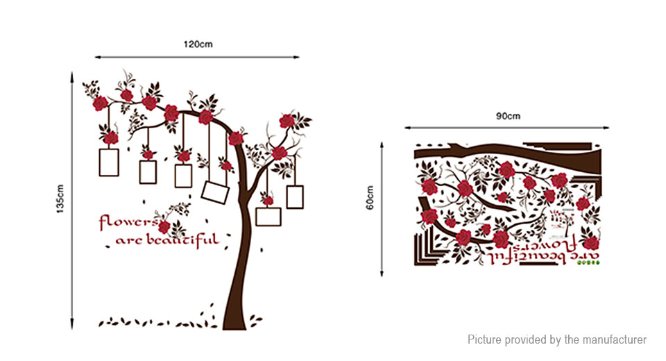 Red Flower Photo Frame Tree Styled Removable Wall Sticker Home Decor