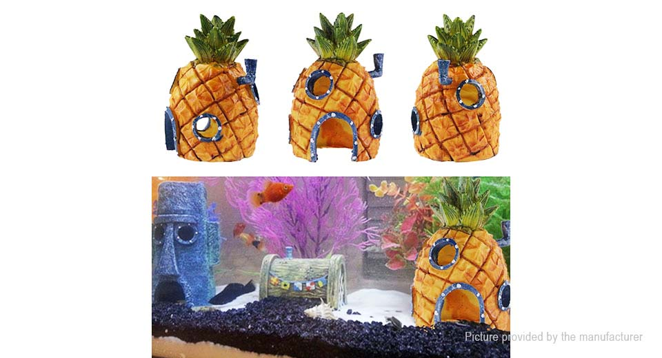 Pineapple Head House Styled Fish Tank Decor Aquarium Landscape Decoration