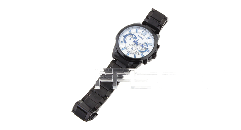 Skmei 9108 Men's Stainless Steel Band Quartz Wrist Watch