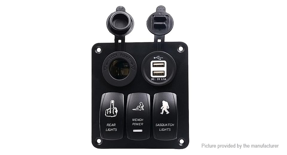 WUPP Car Auto Boat Marine LED Rocker Switch Panel w/ Power Socket / USB  Charger