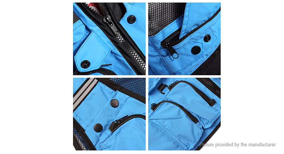 Multi pockets outdoor fishing mesh vest leisure for Let s go fishing xl