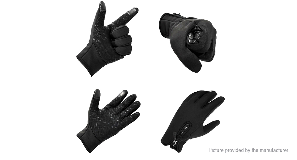 Outdoor Sports Cycling Skiing Touch Screen Windproof Fleece Gloves (Size M)