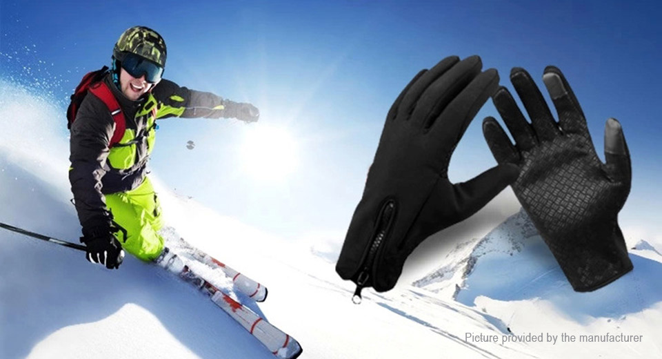 Outdoor Sports Cycling Skiing Touch Screen Windproof Fleece Gloves (Size XL)